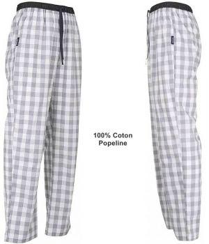 Pantalon de Pyjama ou de Détente, Carreaux Bleu clair, Coton