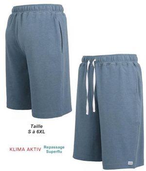 Bermuda d'intérieur ou de pyjama, Coton et Microfibre Confort, Bleu foncé
