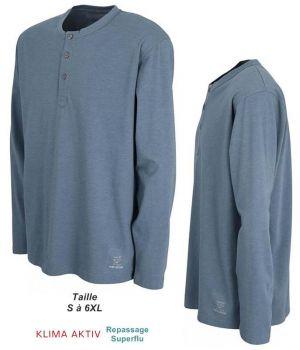 Tee Shirt Manches Longues, Col Rond à Boutons, Confort et Entretien Facile