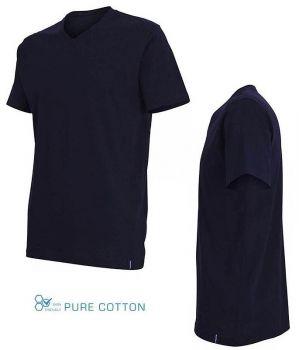 T-Shirt Manches Courtes, Marine, 100% Coton, Col en V