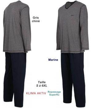 Pyjama Homme, Haut Gris chiné avec col en V, Pantalon Marine