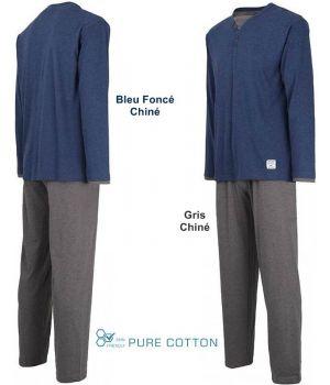 Pyjama Homme, Haut avec Col Rond Bleu Foncé Chiné, Pantalon Gris Chiné