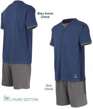 Pyjama Homme, Haut avec Col Rond Bleu Foncé Chiné, Short Gris Chiné