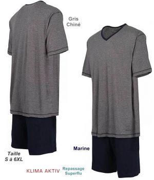 Pyjama Homme, Haut Gris chiné avec col en V, Short Marine