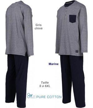 Pyjama Homme, Col Rond à Boutons, Gris chiné et Pantalon Marine, Coton