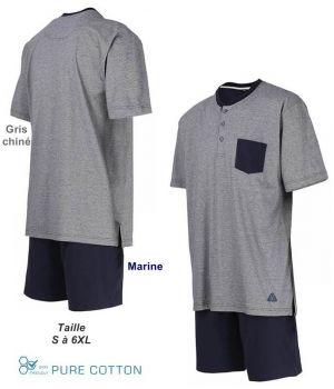Pyjama Homme, Col Rond à Boutons, Gris chiné et Short Marine, Coton