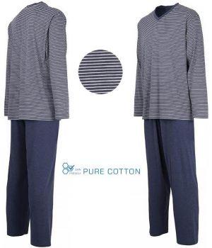 Pyjama Homme, Haut à Rayures avec Col en V, Pantalon Marine, Coton