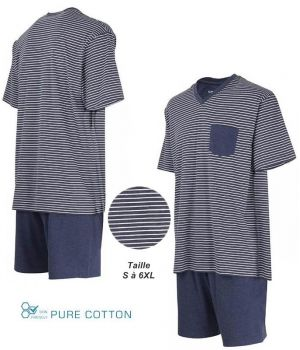 Pyjama Homme, Haut à Rayures avec Col en V, Short Marine, Coton