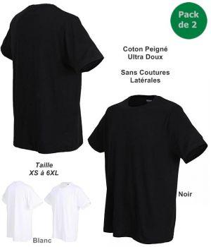 Tee-shirt Maillot de Corps Homme, Ceceba, Sans Coutures Latérales, Coton peigné, Le pack de 2