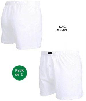 Short Blanc, Sous Vêtement Homme, Pack de 2, Ceinture Confort en Jersey