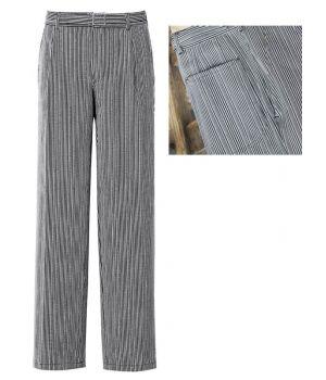Pantalon cuisinier coton Taille 38 Rayé Noir-gris