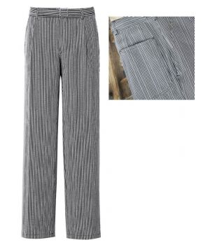 Pantalon cuisinier coton Taille 38 Rayé Noir-gris.