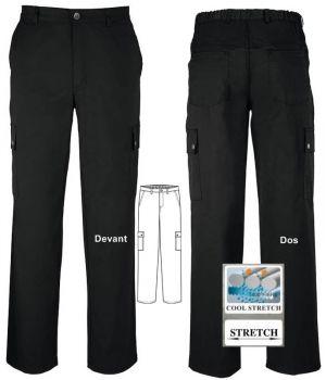 Pantalon cargo homme, PolyCoton, noir, Stretch, 6 poches