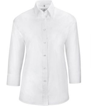 Chemisier blanc manches 3/4, Col Kent, Polyester coton, Coupe confortable
