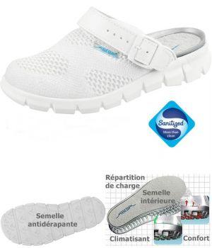 Sabots de Travail Confort, Look Dynamic, Blanc, Textile Tricoté, Respirable