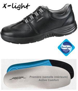 Chaussures Femme et Homme Abeba, Confort et Légereté, Cuir Noir, Lacets