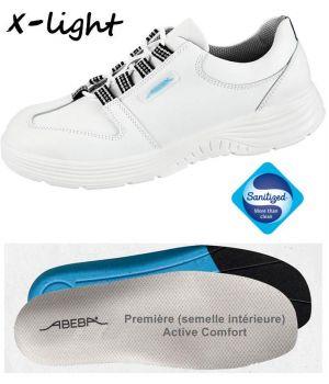 Chaussures Femme et Homme Abeba, Confort et Légereté, Cuir Blanc, Lacets