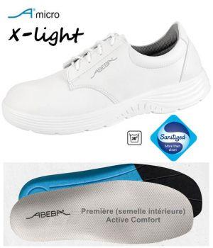 Chaussures Femme et Homme Abeba, Confort et Légereté, Microfibre Blanc, Lacets
