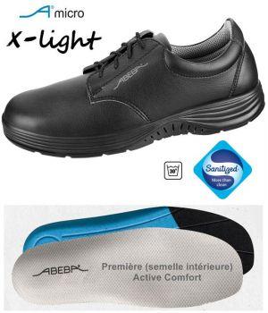 Chaussures Femme et Homme Abeba, Confort et Légèreté, Microfibre Noir, Lacets
