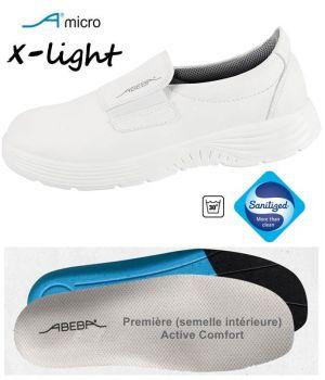 Chaussures Femme et Homme Abeba, Microfibre Blanc, Elastique à l'Empeigne