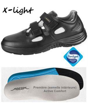 Chaussures Femme et Homme Abeba, Cuir et Parties Textile Air-Mesh, Noir
