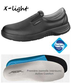Chaussures Femme et Homme Abeba, Cuir Noir, Élastique a l'Empeigne