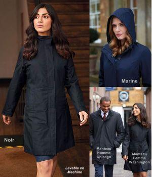 Manteau Femme, 5 boutons avec Zip, Capuche, Doublure Matelassée