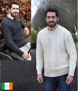 Superbe Pullover Irlandais pour Homme, Laine Mérinos Super Douce