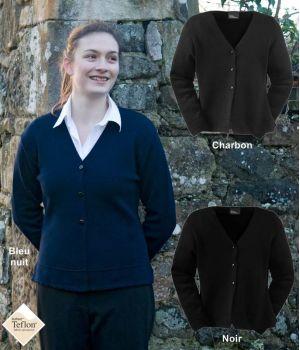 Gilet femme, laine mérinos et acrylique, traité Téflon anti taches