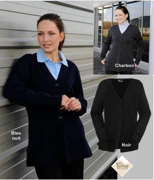 Gilet femme, laine mérinos et acrylique, traité Téflon anti taches et anti boulochage