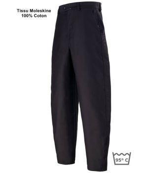 Pantalon de Travail Moleskine Noir, 100% Coton Sanfor, Adolphe Lafont