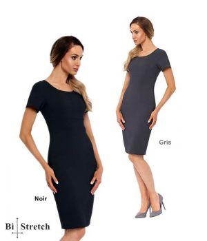 Robe Elégante, Encolure Arrondie et Coutures Empire, Bi-Stretch Confort