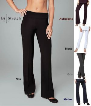 Pantalon femme, bootleg, 100 % polyester bi-stretch confort