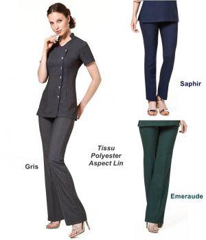 Pantalon Femme, Bootleg, 100 % Polyester Aspect Lin, Coupe Facile à Porter