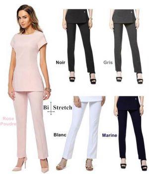 Pantalon Femme Capri, 100 % Polyester Bi-Stretch Confort