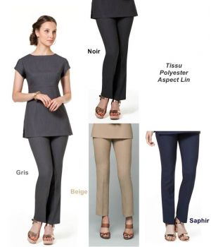 Pantalon Femme Esthétique, 100% Polyester Aspect Lin, Fermeture 2 Boutons