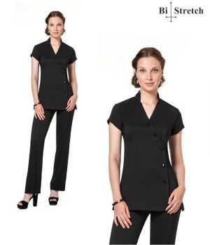 Tunique Noire Femme, Coupe flatteuse pour la Silhouette, Bi-Stretch Confort