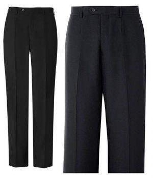 Pantalon noir homme, Sans plis lâchés, polyester lavable.