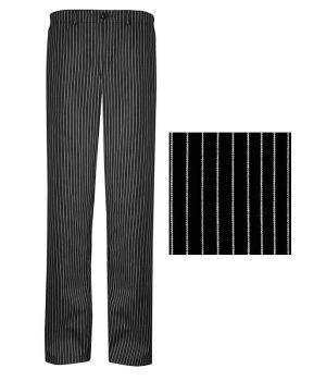 Pantalon de cuisine Rayures Noir et Blanc 1 poche arrière Braguette à fermeture éclair métal, peut bouillir