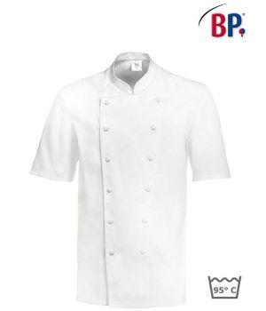 Veste Cuisinier, Manches Courtes, Boutons Pression Blanc, 100% Coton
