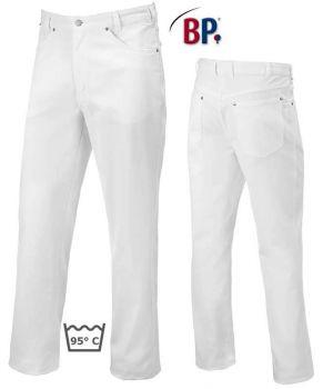 Jean blanc homme, 5 poches, Stretch extensible, Peut bouillir, résiste au chlore