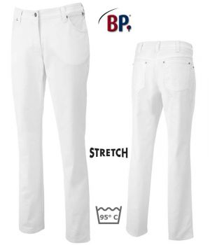 Pantalon femme Stretch, Coupe jean 5 poches, Rivets, Broderie coeur, Blanc