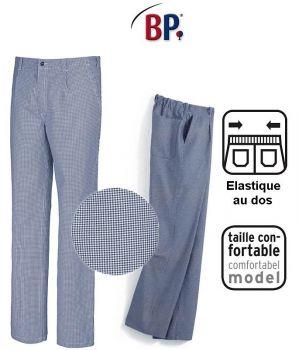 Pantalon Cuisine Homme, Pied de Poule Bleu-Blanc Elastique au Dos