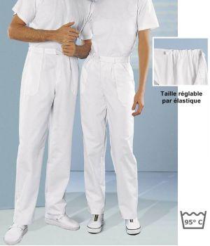 Pantalon blanc femme et homme polyester coton, Taille réglable par élastique
