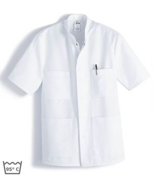 tunique blanche unisexe, boutons pression sous patte, Entretien facile, peut bouillir à 95 °C, polyester coton