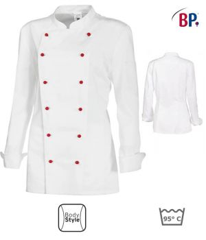 Veste de cuisine dame, manches longues, peut bouillir, Blanc, design féminin