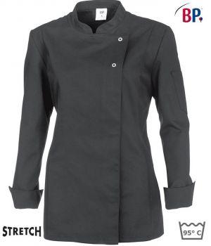 Veste de cuisine femme, couleur gris, Confort Stretch, Boutons pression