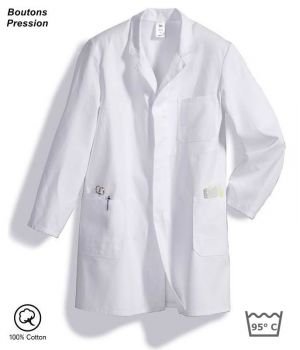 blouse blanche homme, Boutons Pressions, 100% coton