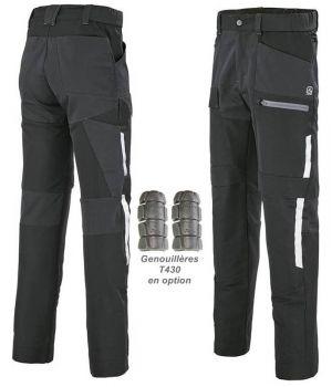 Pantalon de Travail Adolphe Lafont Twist, Noir, Ceinture Elastiquée Bord-côte