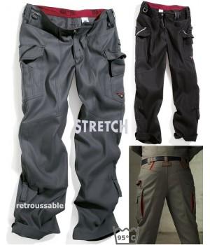 Pantalon homme, tissu extensible, Garanti Grand teint, robuste